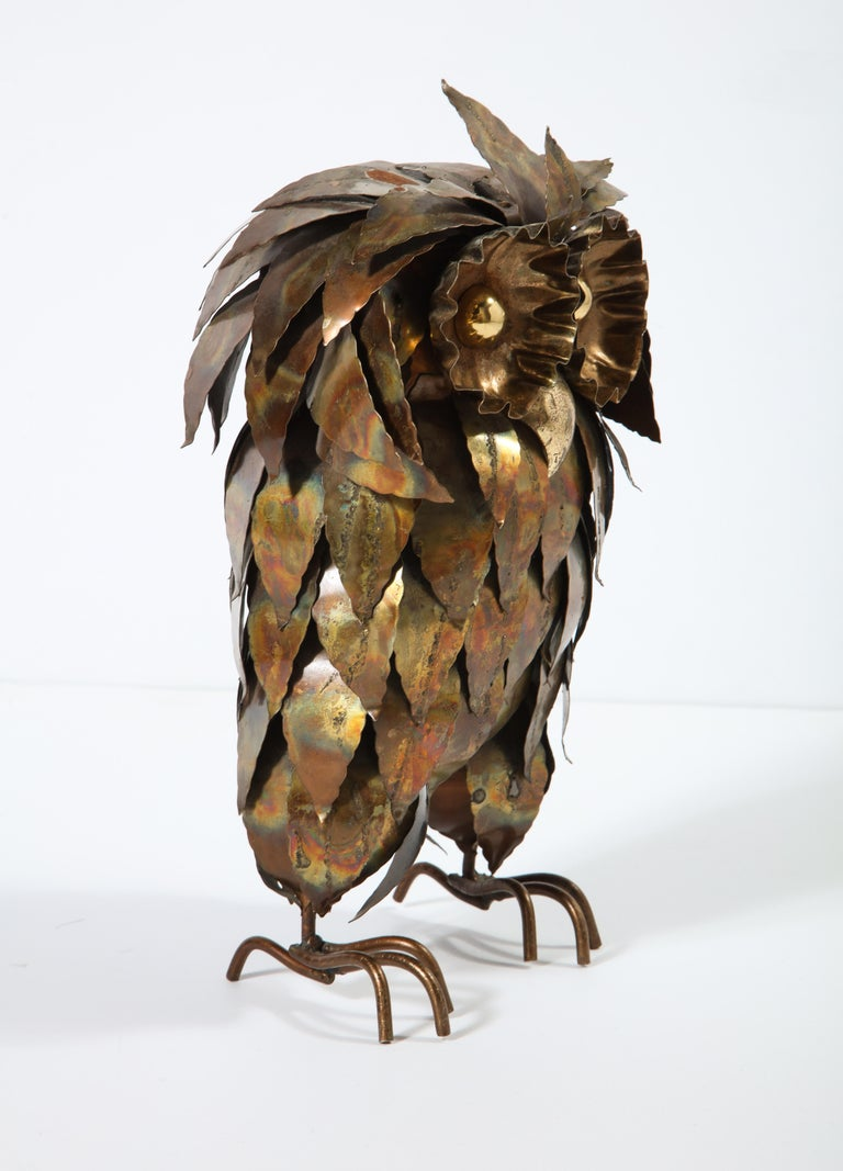 Sculpture, Owl, Brass, circa 1950 For Sale 4
