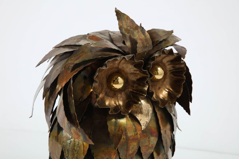 Sculpture, Owl, Brass, circa 1950 For Sale 5