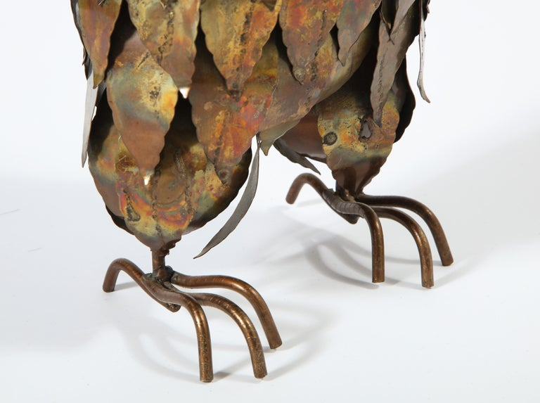 Sculpture, Owl, Brass, circa 1950 For Sale 6