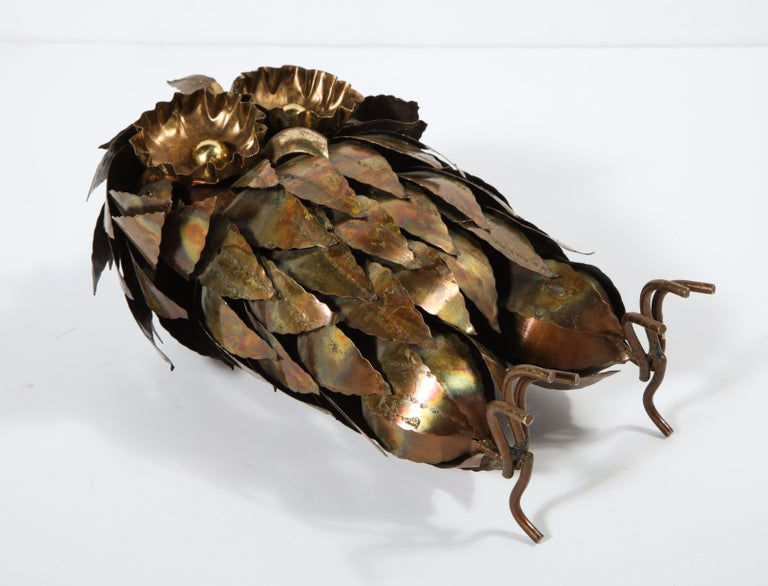 Sculpture, Owl, Brass, circa 1950 For Sale 7
