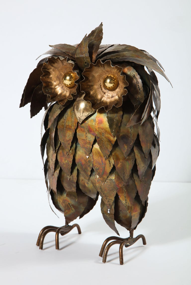 Brass sculpture owl, circa 1950.