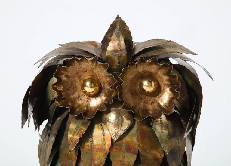 American Sculpture, Owl, Brass, circa 1950 For Sale