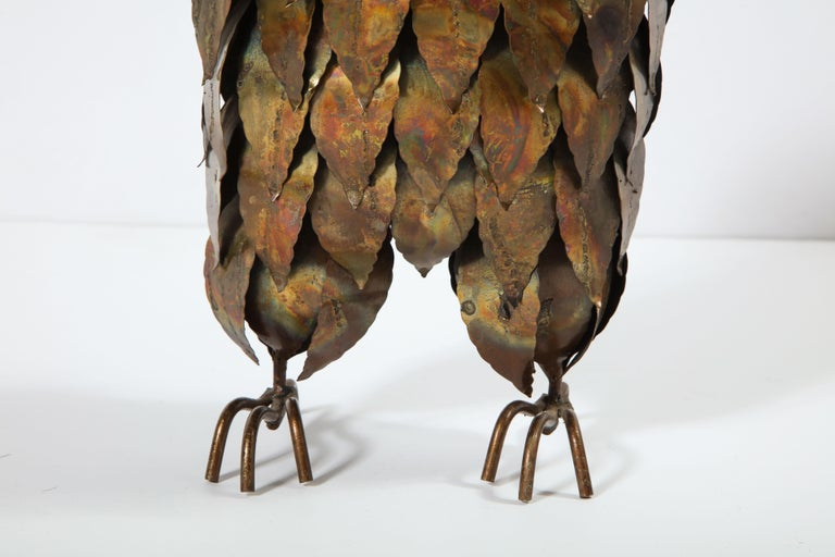 Hand-Crafted Sculpture, Owl, Brass, circa 1950 For Sale