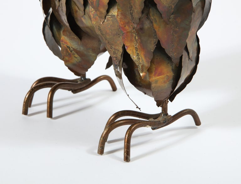 Sculpture, Owl, Brass, circa 1950 In Good Condition For Sale In New York, NY