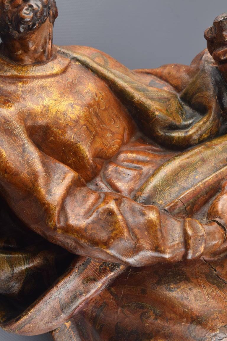 Sculpture, Polychromed Walnut, Spain, 16th Century For Sale 4