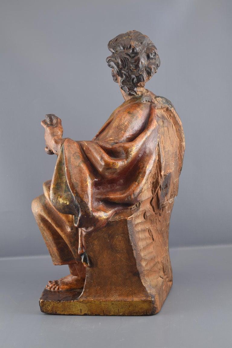 Renaissance Sculpture, Polychromed Walnut, Spain, 16th Century For Sale