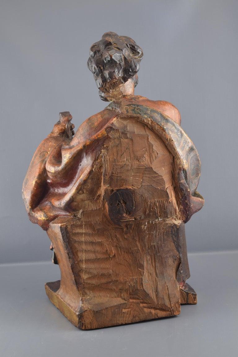 Spanish Sculpture, Polychromed Walnut, Spain, 16th Century For Sale