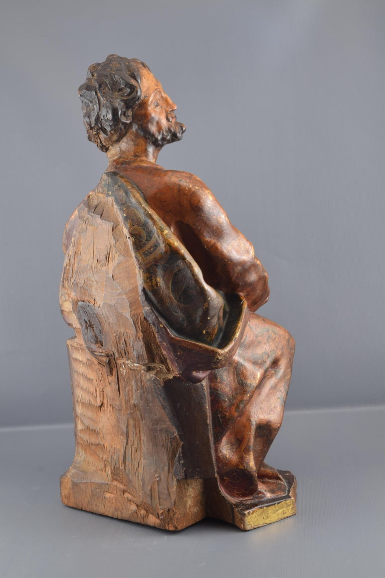 Hand-Carved Sculpture, Polychromed Walnut, Spain, 16th Century For Sale