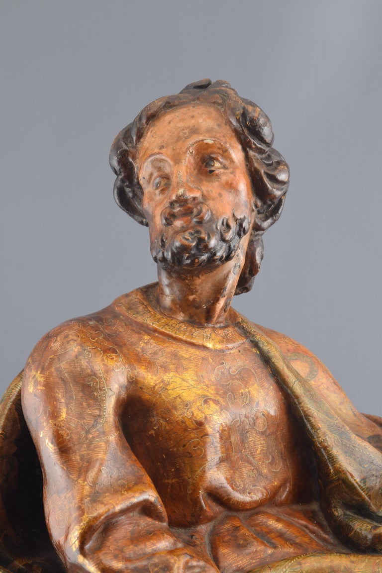 Sculpture, Polychromed Walnut, Spain, 16th Century In Fair Condition For Sale In Madrid, ES