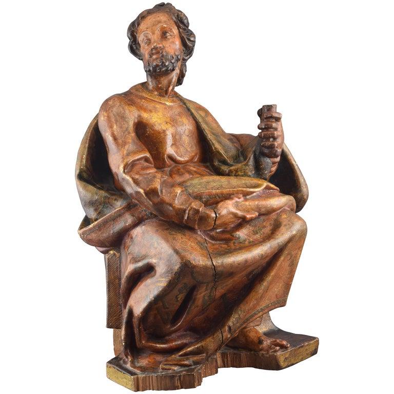 Sculpture, Polychromed Walnut, Spain, 16th Century For Sale