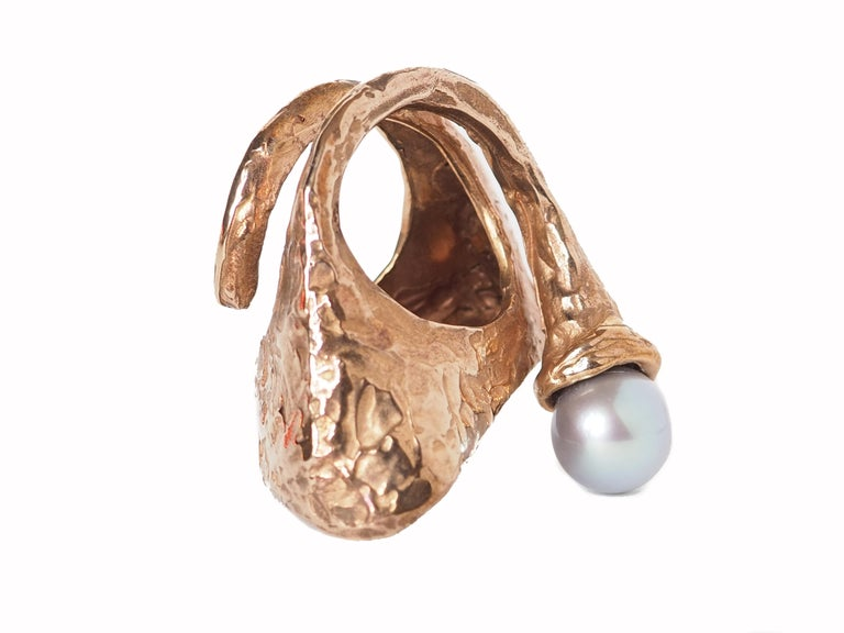 Women's or Men's Sculpture Ring Bronze Natural Pearl For Sale