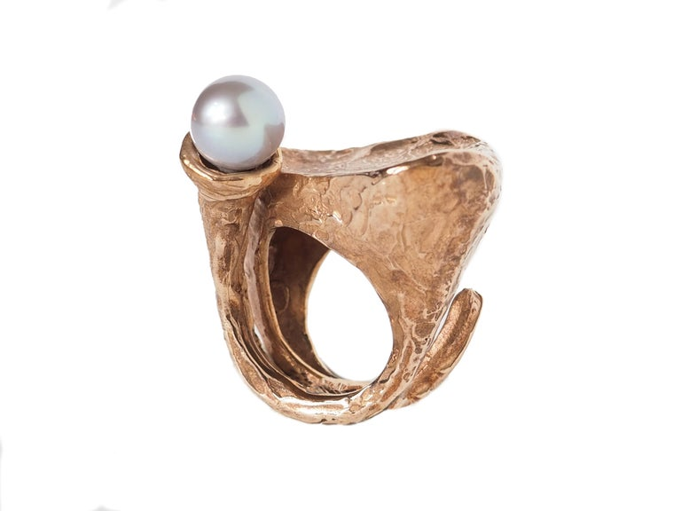 Sculpture Ring Bronze Natural Pearl For Sale 3