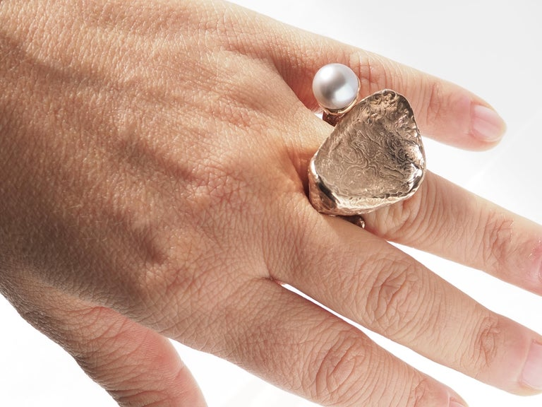Sculpture Ring Bronze Natural Pearl For Sale 4