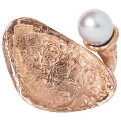 Sculpture Ring Bronze Natural Pearl