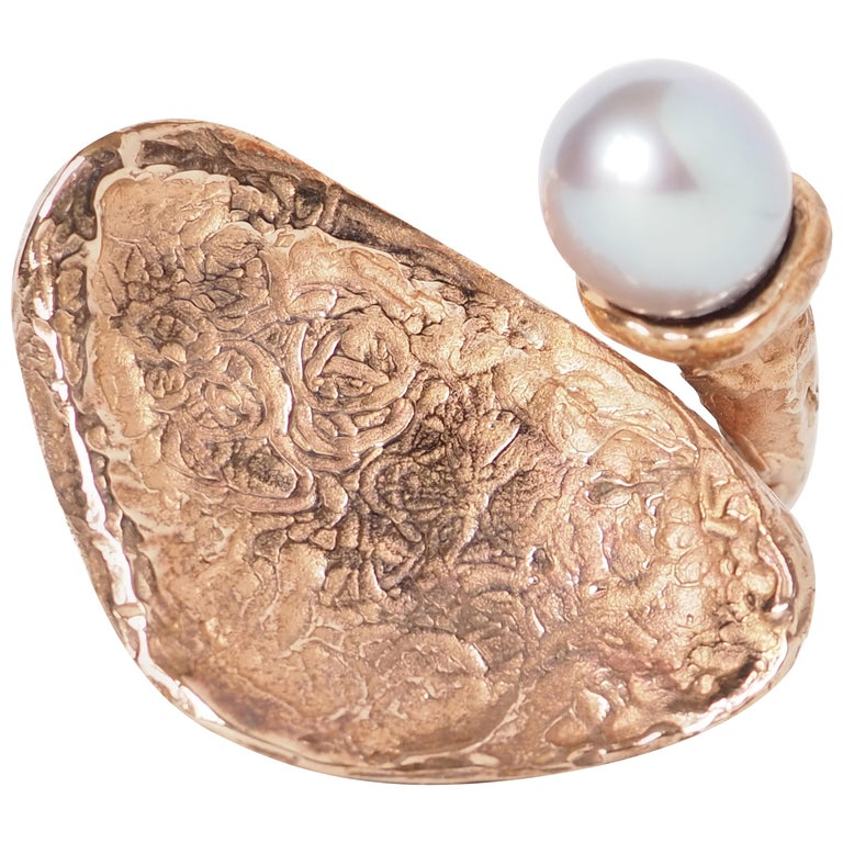 Sculpture Ring Bronze Natural Pearl For Sale