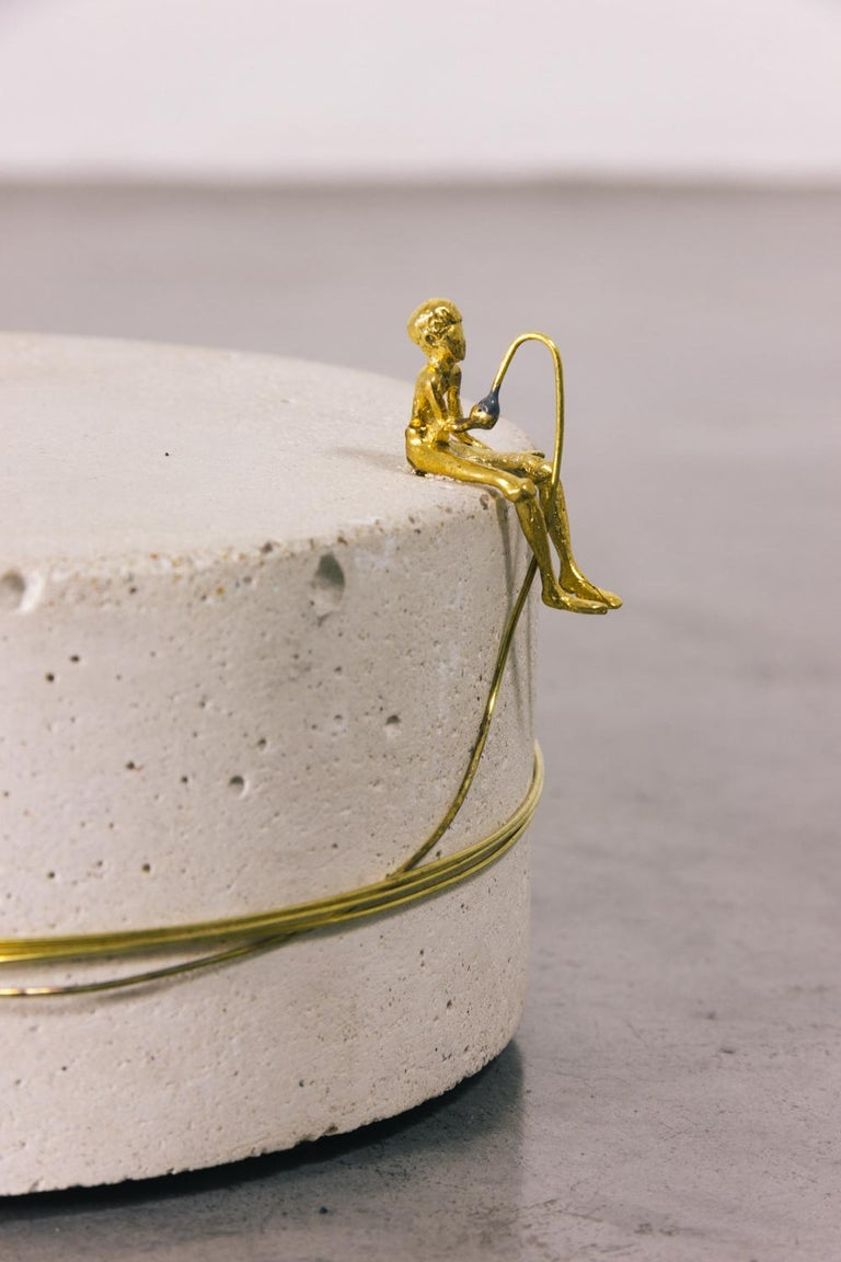 Cast Sculpture Series - Pescador N4, Contemporary Sculptures in Brass For Sale