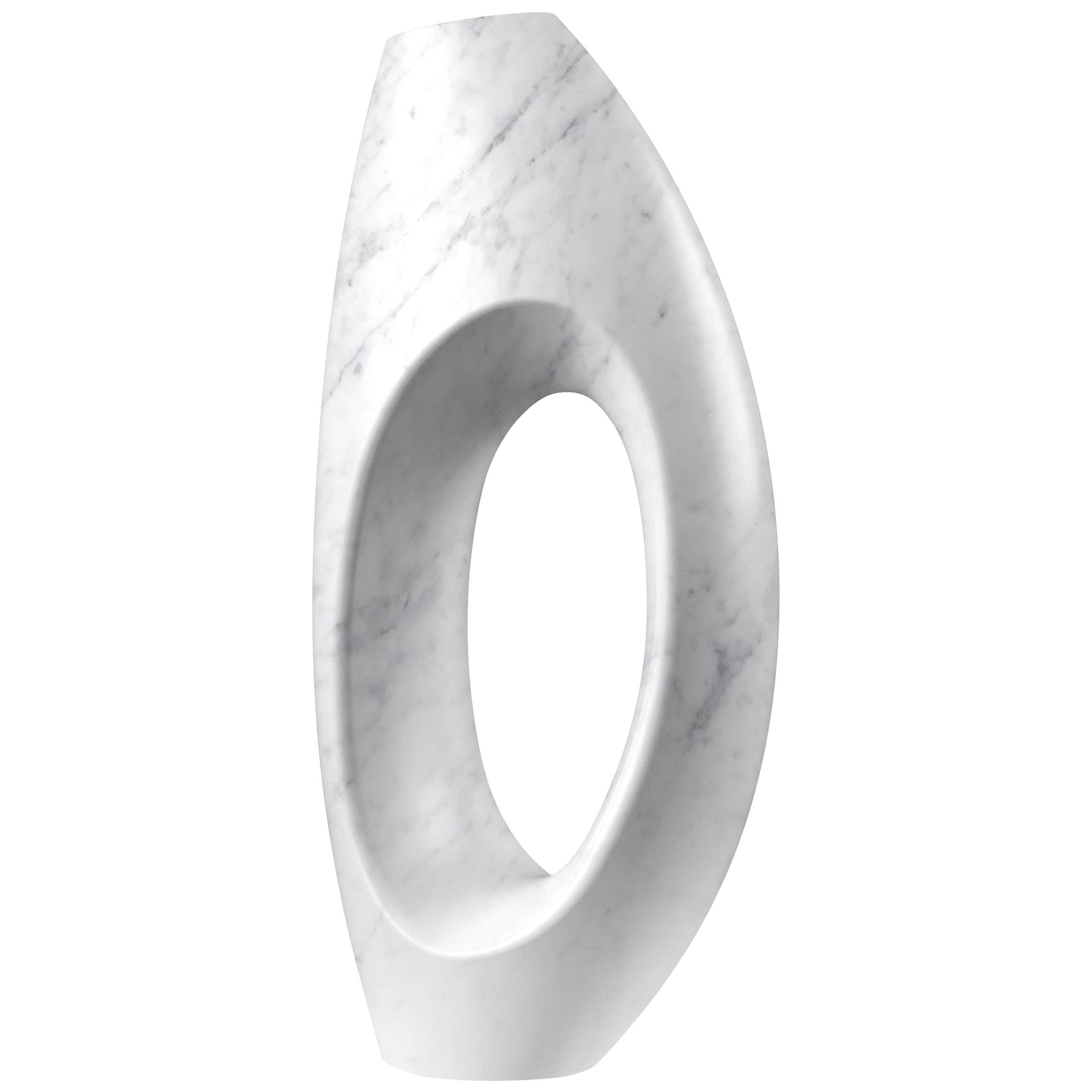 Sculpture Vase Marble White Carrara Italian Contemporary Design