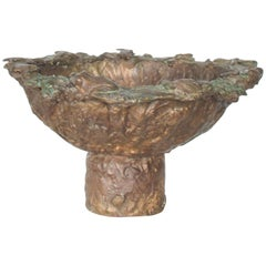 Sculptured Brutalist Bronze Pedestal Bowl Inspired by Style of Giacometti France