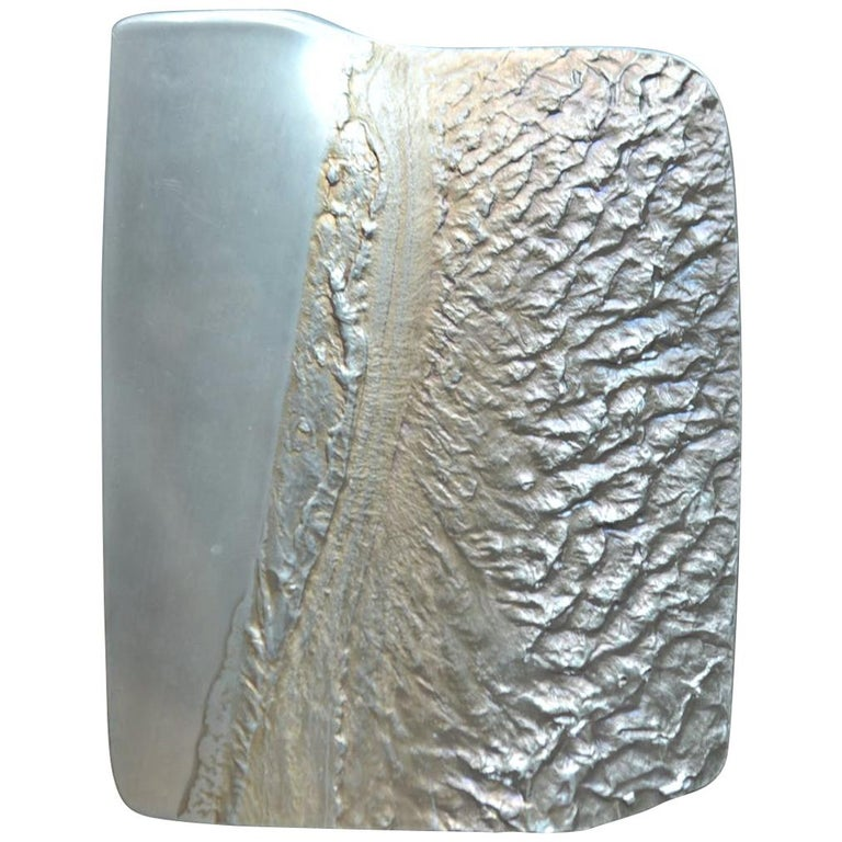 Sculptured Vase by Joensen of Norway, Tinn Pewter Vase, Signed HELGI JOENSEN 19 For Sale