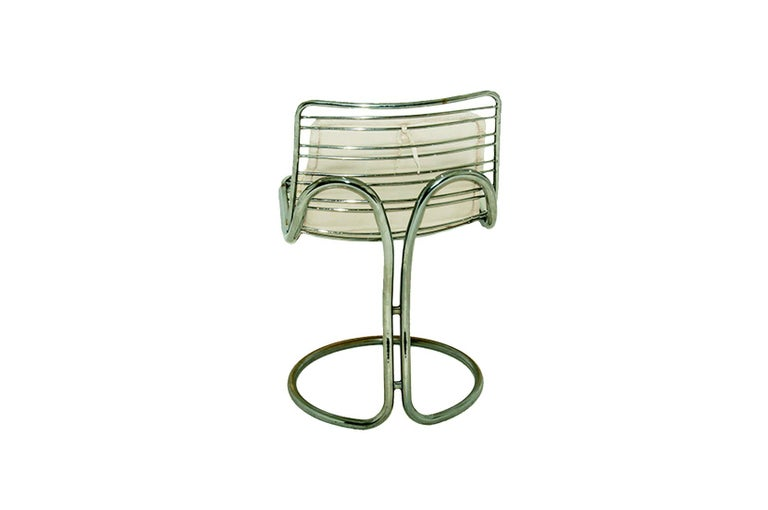 Sculptural Tubular, Chromed Metal Pair of Chair, Attributed to Gastone Rinaldi For Sale 2