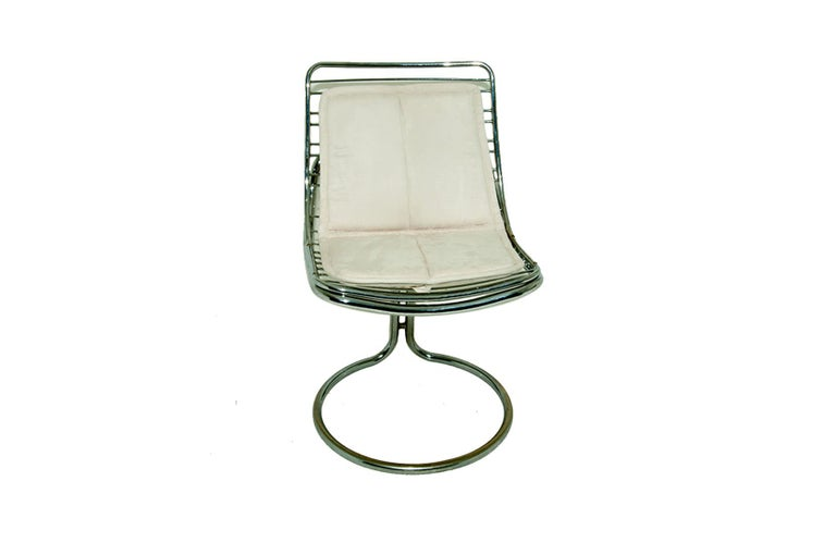 Sculptural Tubular, Chromed Metal Pair of Chair, Attributed to Gastone Rinaldi For Sale 3