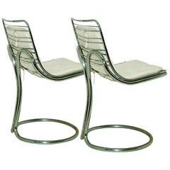 Sculptural Tubular, Chromed Metal Pair of Chair, Attributed to Gastone Rinaldi