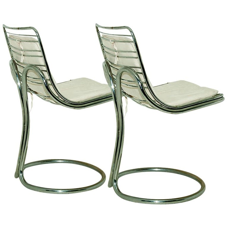 Sculptural Tubular, Chromed Metal Pair of Chair, Attributed to Gastone Rinaldi For Sale
