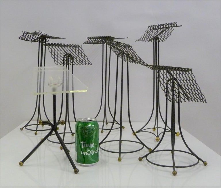 Mid-Century Modern Sculptural Group of 7 Modern Black Wire Store Display Stands, 1930s-1940s For Sale