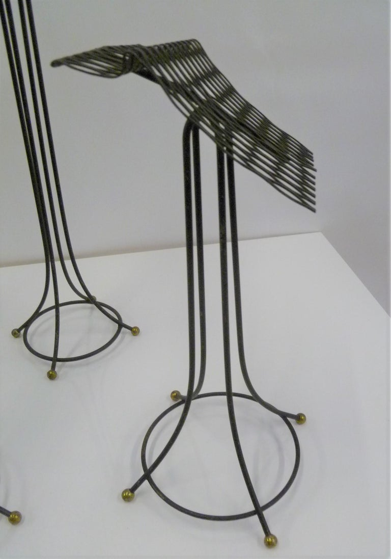 Sculptural Group of 7 Modern Black Wire Store Display Stands, 1930s-1940s In Good Condition For Sale In Miami, FL