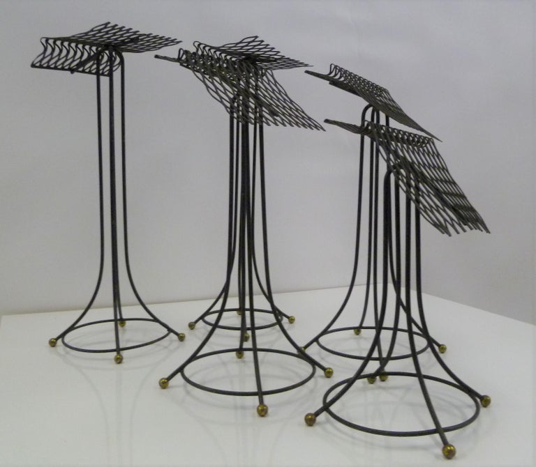 Sculptural Group of 7 Modern Black Wire Store Display Stands, 1930s-1940s For Sale 1
