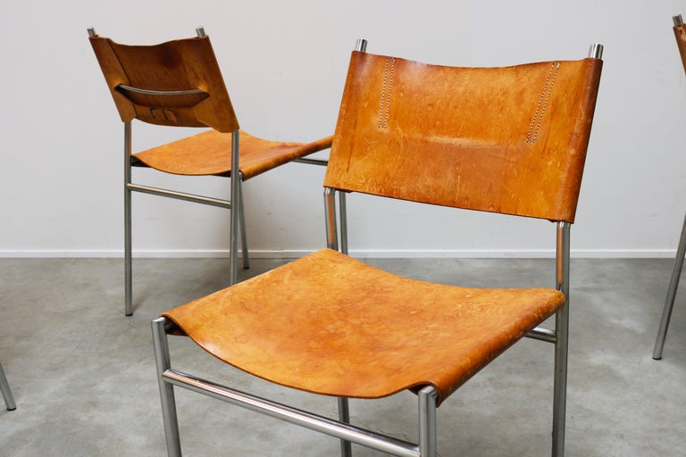 Se06 Chairs by Martin Visser for 'T Spectrum, 1962 Chrome, Gocnac Leather Brown For Sale 4