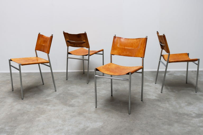 Se06 Chairs by Martin Visser for 'T Spectrum, 1962 Chrome, Gocnac Leather Brown For Sale 5