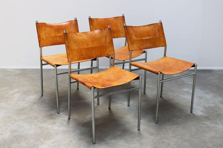 Mid-Century Modern Se06 Chairs by Martin Visser for 'T Spectrum, 1962 Chrome, Gocnac Leather Brown For Sale
