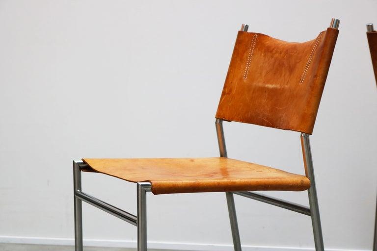 Se06 Chairs by Martin Visser for 'T Spectrum, 1962 Chrome, Gocnac Leather Brown In Good Condition For Sale In Ijzendijke, NL