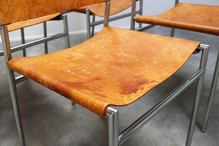 Mid-20th Century Se06 Chairs by Martin Visser for 'T Spectrum, 1962 Chrome, Gocnac Leather Brown For Sale