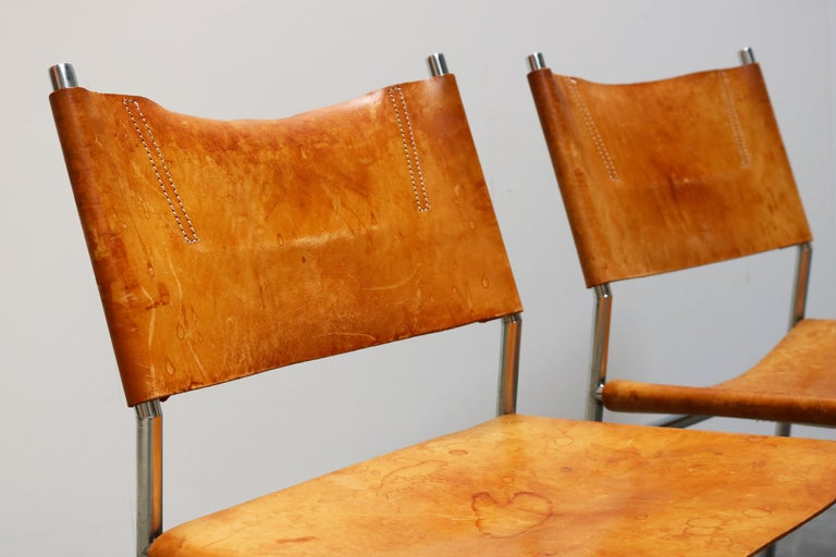Se06 Chairs by Martin Visser for 'T Spectrum, 1962 Chrome, Gocnac Leather Brown For Sale 2