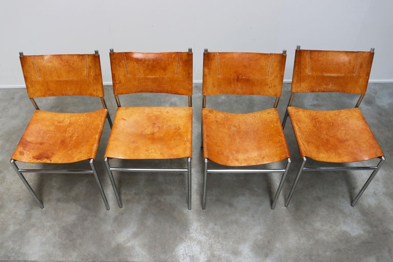 Se06 Chairs by Martin Visser for 'T Spectrum, 1962 Chrome, Gocnac Leather Brown For Sale 3