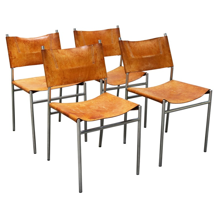 Se06 Chairs by Martin Visser for 'T Spectrum, 1962 Chrome, Gocnac Leather Brown For Sale