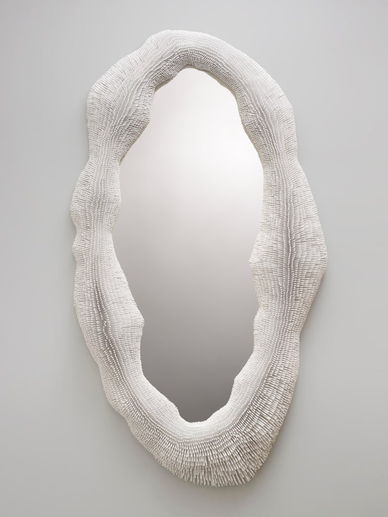 Lacquered 'Sea Anemone' Mirror by Pia Maria Raeder - can be hung vertically as well For Sale