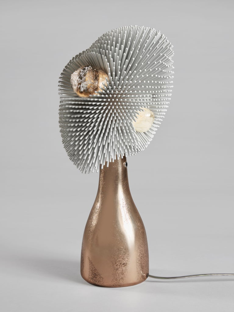 German 'Sea Anemone' Table Light with Golden Bronze Base by Pia Maria Raeder For Sale