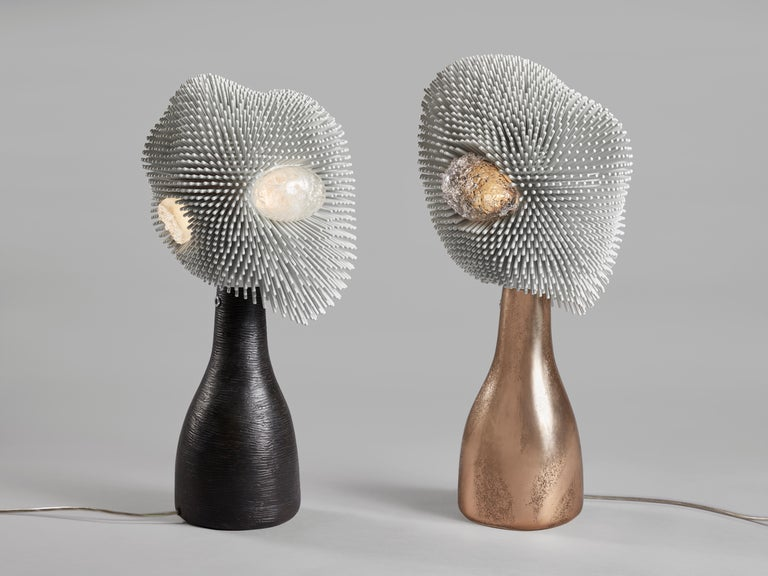 'Sea Anemone' Table Light with Golden Bronze Base by Pia Maria Raeder In New Condition For Sale In Paris, FR