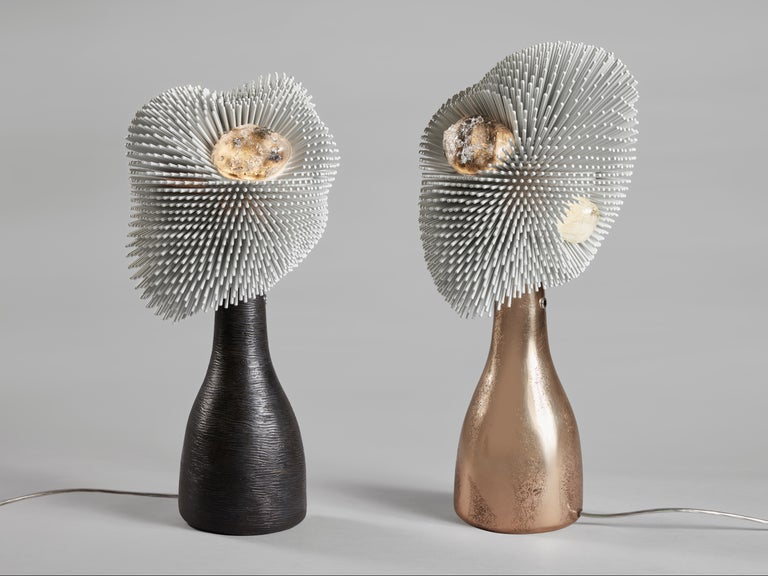 Contemporary 'Sea Anemone' Table Light with Golden Bronze Base by Pia Maria Raeder For Sale