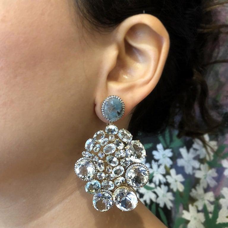 Women's Aquamarine Diamond Gold Drop Earrings For Sale
