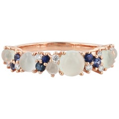 Sea Blue Chalcedony Rose Gold Ring with Diamonds and Sapphires