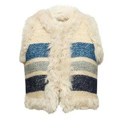 Sea Cream & Blue Lamb Fur Striped Vest