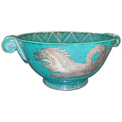 """Sea Dragon with Chevrons,"" Large, Unique Art Deco Bowl by Kåge for Gustavsberg"