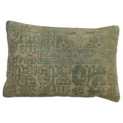 Sea Foam Green Early 20th Century Wool Antique Oushak Rug Pillow