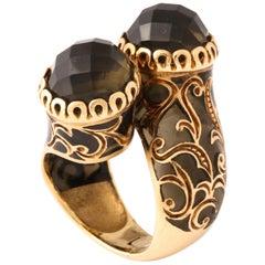 Sea Green Plique Azure Enamel Smokey Topaz Gold Ring