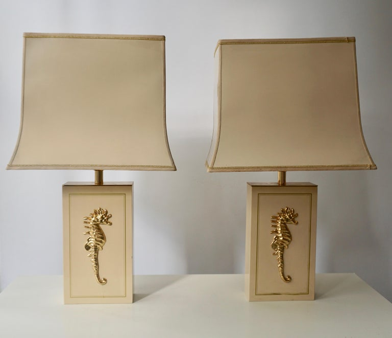 Mid-Century Modern Sea Horse Set of Two Table Lamps For Sale