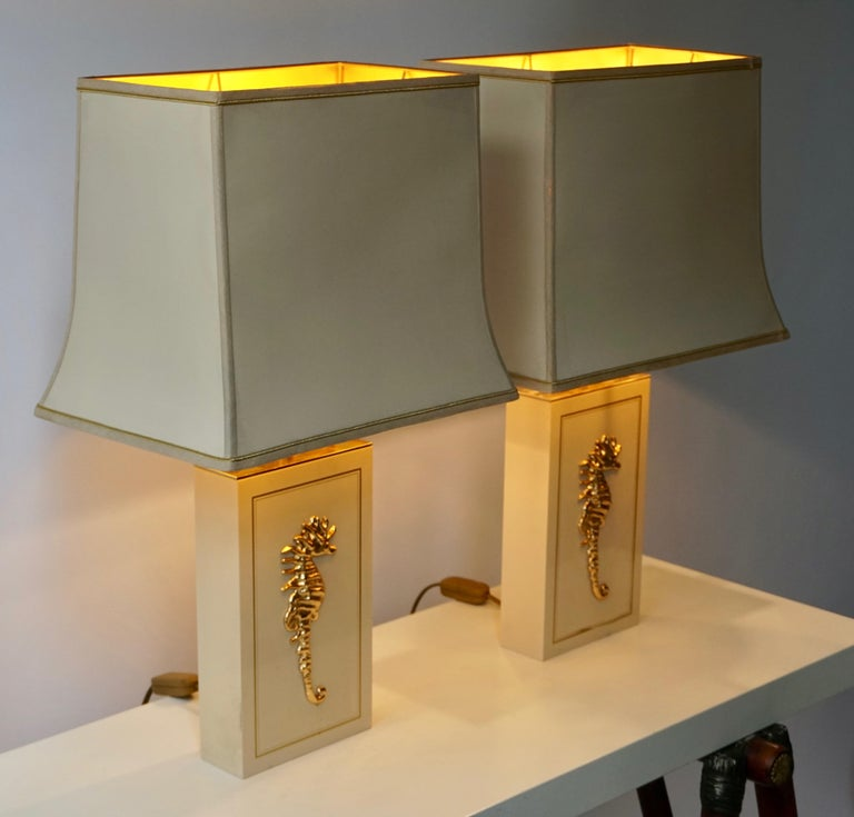 Belgian Sea Horse Set of Two Table Lamps For Sale